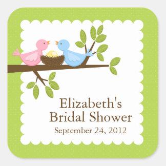 Cute & Modern Bird Nest Neutral Baby Shower Square Sticker