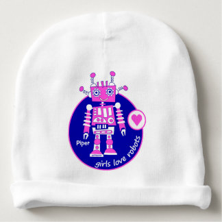 Cute Modern Bright Pink Girl Robot Design Baby Beanie