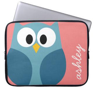 Cute Modern Cartoon Owl with huge eyes Laptop Computer Sleeve