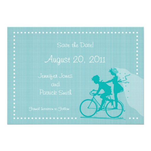 CUTE Modern Couple on Bicycle Save the Date Personalized Announcement
