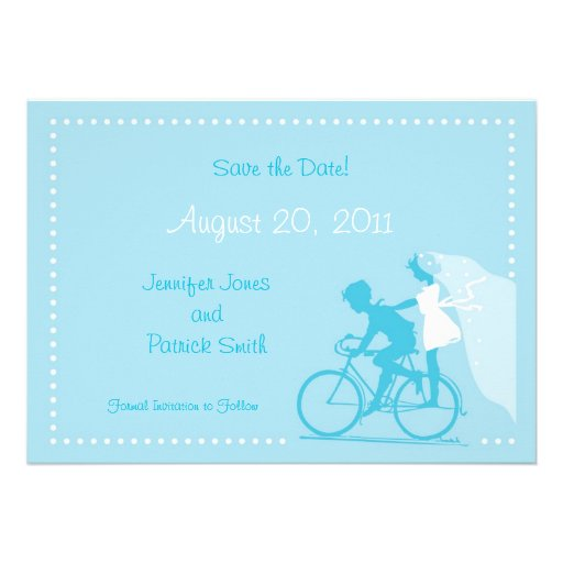 CUTE Modern Couple on Bicycle Save the Date Announcements