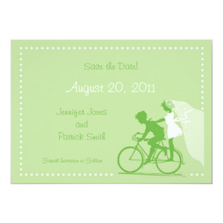 "CUTE Modern Couple on Bicycle Save the Date 5"" X 7"" Invitation Card"