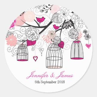 Cute modern DIY birdcage wedding favour favours Classic Round Sticker