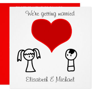 Cute modern fun doodle bride groom wedding 13 cm x 13 cm square invitation card