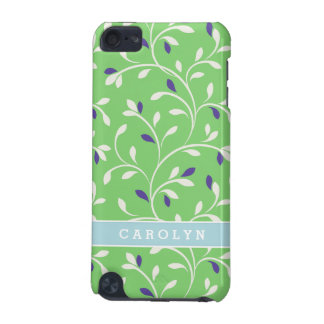 Cute modern green curly leaves pattern monogram iPod touch 5G covers