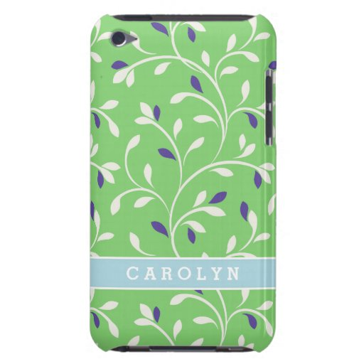 Cute modern green curly leaves pattern monogram barely there iPod covers