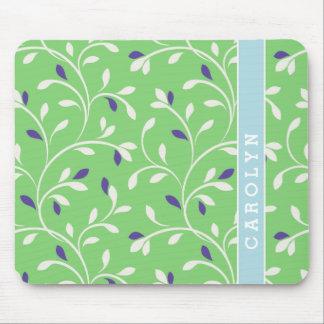 Cute modern green curly leaves pattern monogram mousepads
