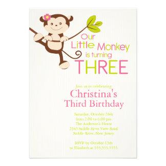 Cute Modern Monkey 3rd Birthday Party Invitations