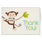 Cute Modern Monkey Birthday Party Thank You Card