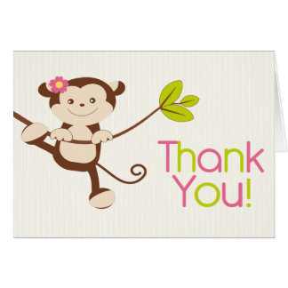 Cute Modern Monkey Birthday Party Thank You Card