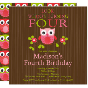 Cute Modern Owl 4th Birthday Party Invitations
