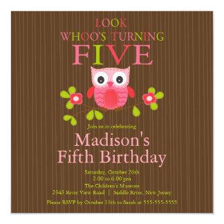 Cute Modern Owl 5th Birthday Party Invitations