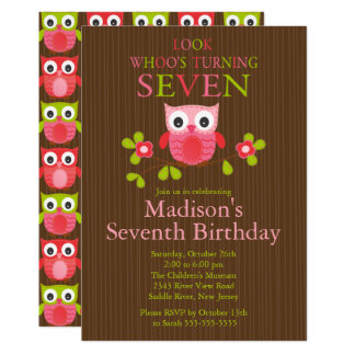 Cute Modern Owl 7th Birthday Party Invitations