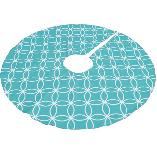 Cute Modern Pattern Overlapping Circles Aqua White Brushed Polyester Tree Skirt