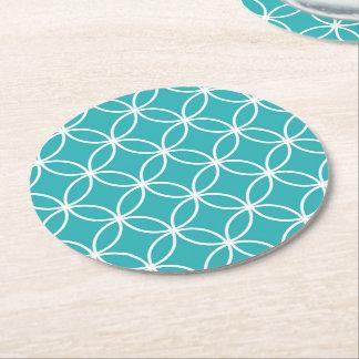Cute Modern Pattern Overlapping Circles Aqua White Round Paper Coaster