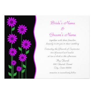 Cute Modern Purple Flowers Wedding Announcement