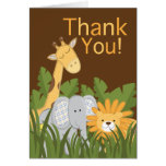 Cute Modern Safari Birthday Party Thank You Card