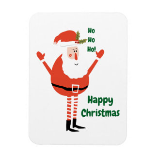 Cute Modern Santa Wishes You a Happy Christmas Magnet