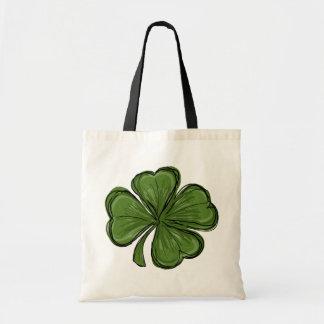 Cute Modern Shamrock Budget Tote Bag