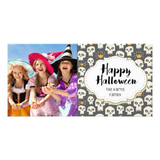 Cute Modern Skulls Halloween Picture Photo Card