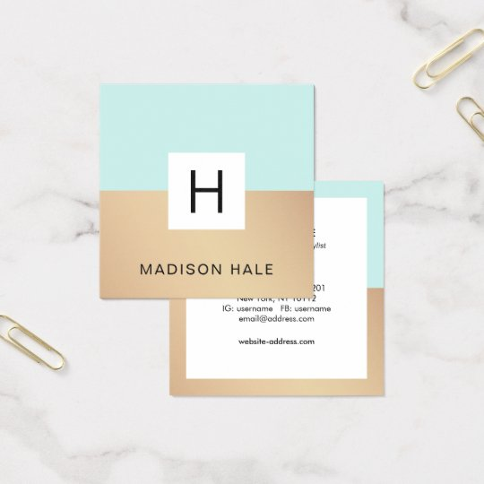 Cute Modern Turquoise Gold Monogram Beauty Stylist Square