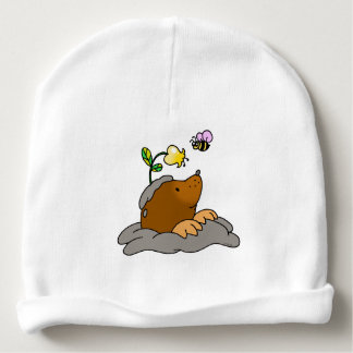 cute mole cartoon with a flower bee baby beanie