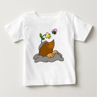 cute mole cartoon with a flower bee baby T-Shirt