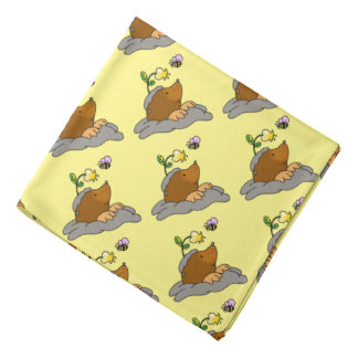 cute mole cartoon with a flower bee bandana