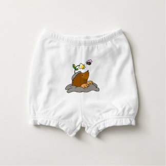 cute mole cartoon with a flower bee nappy cover