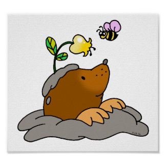 cute mole cartoon with a flower bee poster