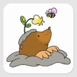 cute mole cartoon with a flower bee square sticker