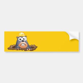 Cute Mole Digging Cartoon Bumper Sticker