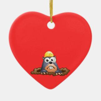 Cute Mole Digging Cartoon Christmas Ornament