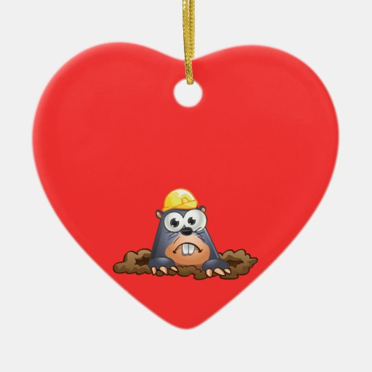 Cute Mole Digging Cartoon Christmas Ornament