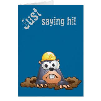 Cute Mole Digging Cartoon Greeting Card