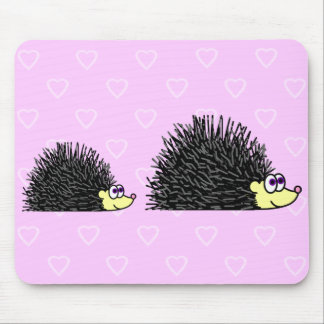 Cute Mom and Baby Hedgehog Mousepad
