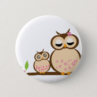 Cute mom and baby owl 6 cm round badge