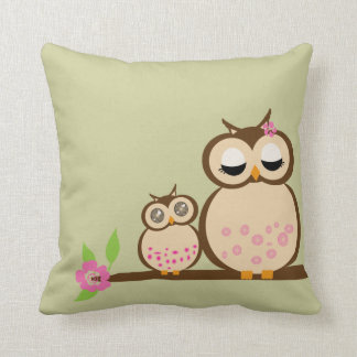 Cute Mom and baby owl Cushion