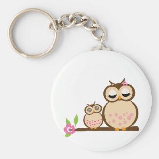 Cute mom and baby owl key ring