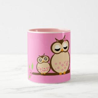 Cute mom and baby owl mugs