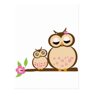 Cute mom and baby owl postcard