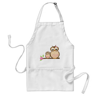 Cute mom and baby owl standard apron