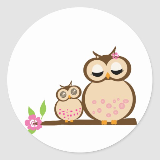 Cute mom and baby owl round stickers