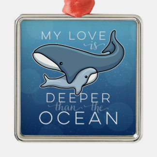 Cute Mom and Baby Whale, Love is Deeper than Ocean Christmas Ornament