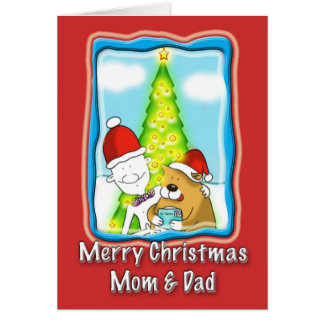 cute mom and dad Christmas card