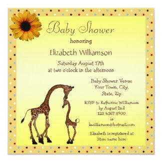 Cute Mom & Baby Giraffe Neutral Baby Shower 13 Cm X 13 Cm Square Invitation Card
