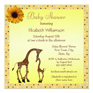 Cute Mom & Baby Giraffe Neutral Baby Shower Card