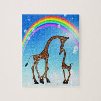Cute Mom & Baby Giraffe & Rainbow Puzzle