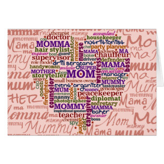 Cute Mom Mother s Day Word Art Heart Greeting Cards