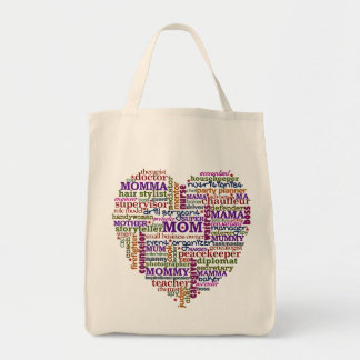 Cute Mom Mother s Day Word Art Heart Tote Bag